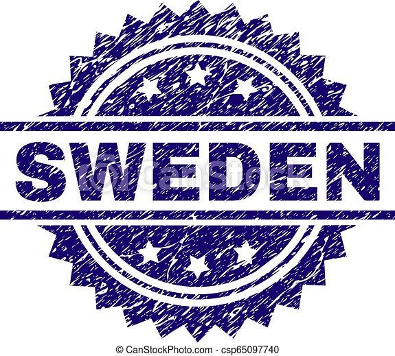 Grunge Textured SWEDEN Stamp Seal - csp65097740