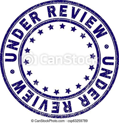 Grunge Textured UNDER REVIEW Round Stamp Seal - csp63259789