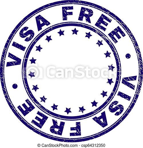 Grunge Textured VISA FREE Round Stamp Seal - csp64312350