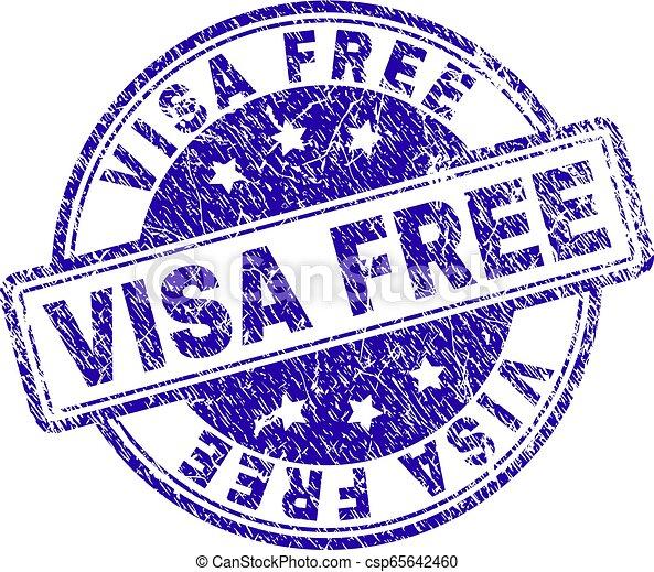 Grunge Textured VISA FREE Stamp Seal - csp65642460