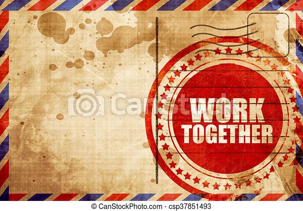 grunge, timbre, travail, arrière-plan rouge, ensemble, poste aérienne - csp37851493