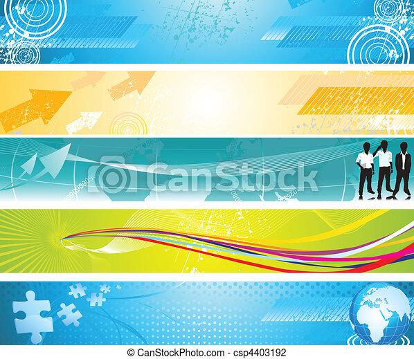 grunge, toile, résumé, bannière, coloré - csp4403192