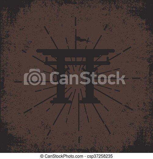 Grunge Torii Gate Background - csp37258235