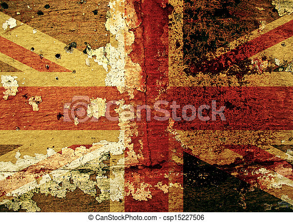 Grunge UK flag on an old wall - csp15227506
