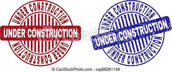 Grunge UNDER CONSTRUCTION Textured Round Stamp Seals - csp68261149