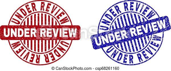 Grunge UNDER REVIEW Scratched Round Watermarks - csp68261160
