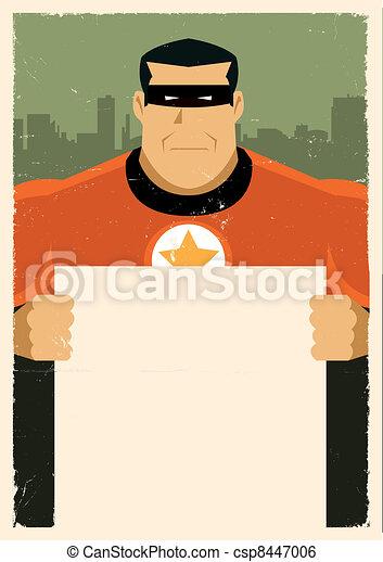 Grunge Urban Super Hero Ad Sign - csp8447006