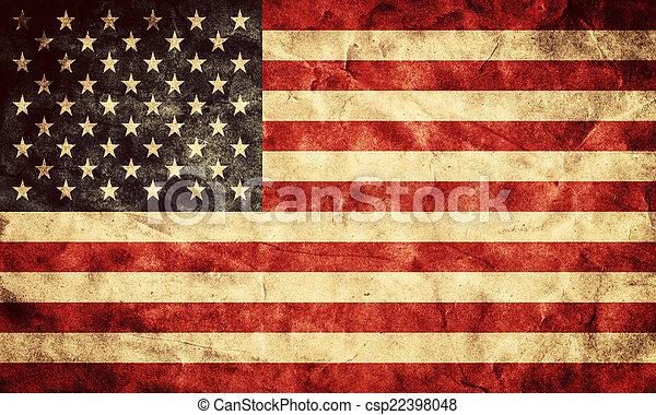 grunge, usa, flag., rocznik wina, pozycja, bandery, retro, zbiór, mój - csp22398048