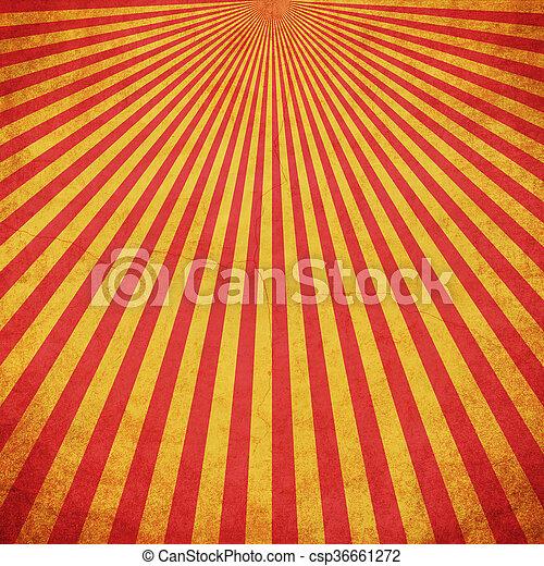 grunge, utrymme, årgång, gul fond, sunburst, röd - csp36661272
