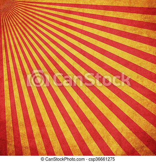 grunge, utrymme, årgång, gul fond, sunburst, röd - csp36661275