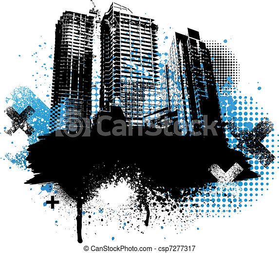 grunge, város, tervezés - csp7277317