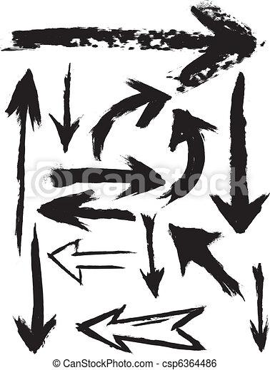 grunge, vecteur, flèches, brosse - csp6364486