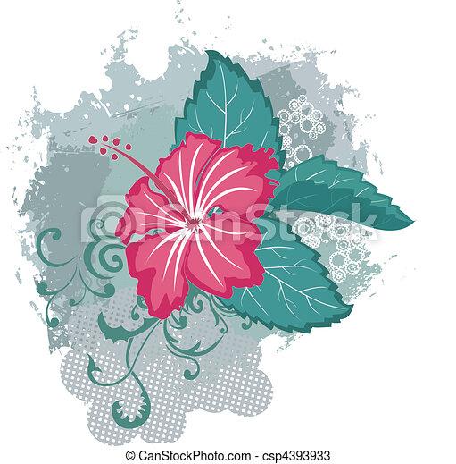 Grunge vector hibiscus flower - csp4393933