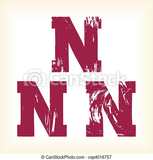 Grunge vector N letter - type - csp4016757