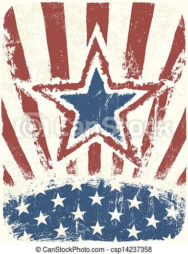 grunge, vector, patriótico, poster., día, independencia - csp14237358