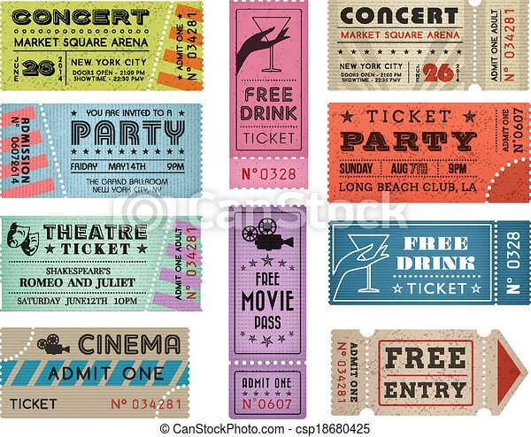 Grunge Vector Tickets Collection 3 - csp18680425