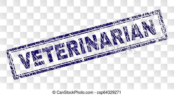 Grunge VETERINARIAN Rectangle Stamp - csp64329271