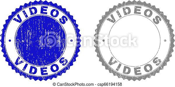 Grunge VIDEOS Textured Stamp Seals - csp66194158