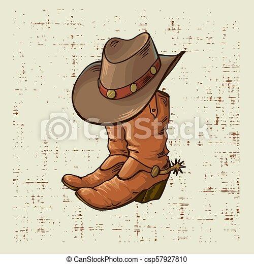 Botas de vaquero y sombrero. Ilustración gráfica vectorial en el pasado grunge - csp57927810