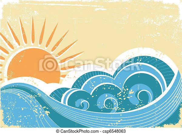 grunge, vindima, ilustração, vetorial, waves., mar, paisagem - csp6548063