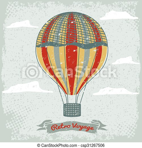 grunge vintage hot air balloon in the sky with clouds - csp31267506