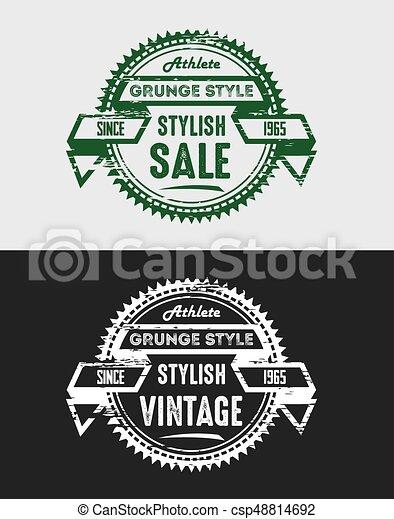 Grunge Vintage Sale Logo & Badges - csp48814692