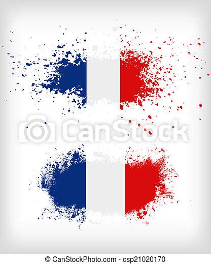 grunge, vlag, splattered, franse , inkt - csp21020170