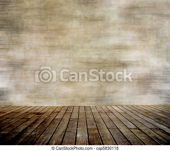 Grunge wall and wood paneled floor - csp5830118
