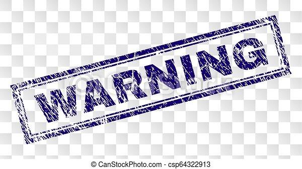Grunge WARNING Rectangle Stamp - csp64322913