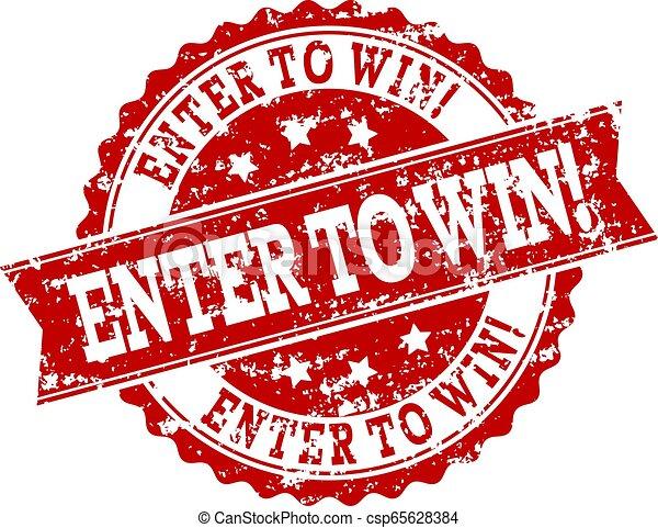 grunge, watermark, selo, entrar, selo, win!, vermelho - csp65628384