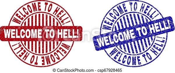 Grunge WELCOME TO HELL! Textured Round Stamp Seals - csp67928465