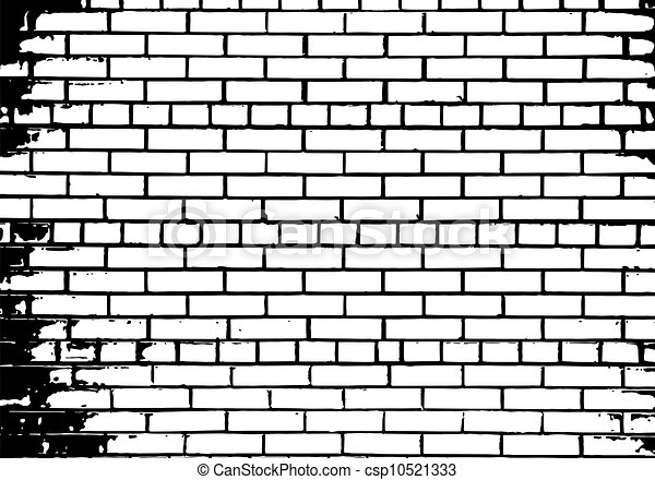 Grunge White And Black Brick Wall Background Vector Illustration