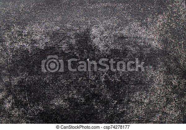 Grunge white color chalk texture on blank blackboard background with copy space - csp74278177