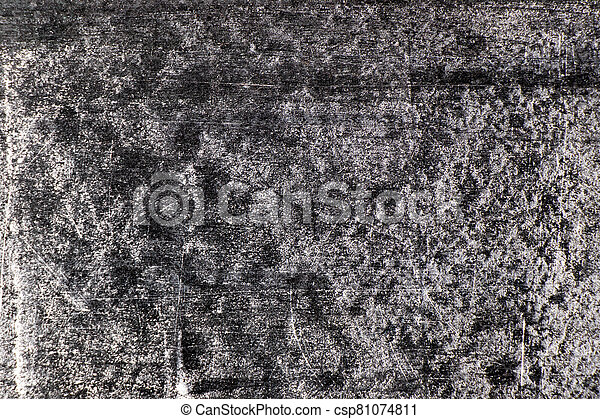 Grunge white color chalk texture on blank blackboard background with copy space - csp81074811