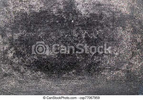Grunge white color chalk texture on blank blackboard background with copy space - csp77067959