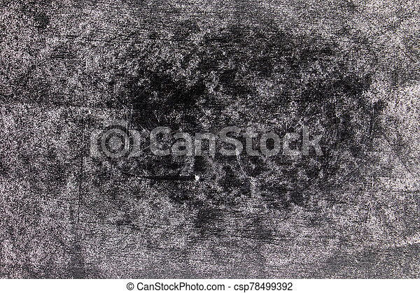 Grunge white color chalk texture on blank blackboard background with copy space - csp78499392