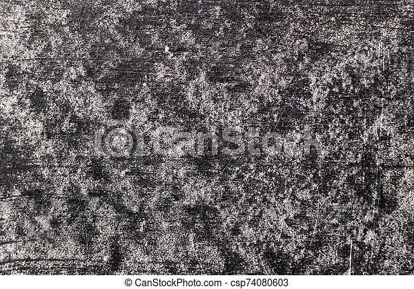 Grunge white color chalk texture on blank blackboard background with copy space - csp74080603