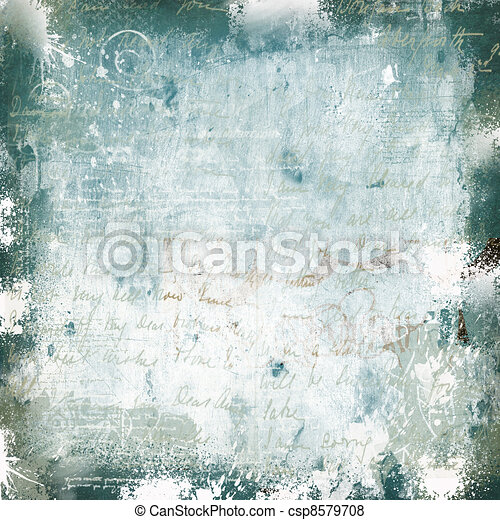 Grunge white green scratched wall with graffiti  - csp8579708