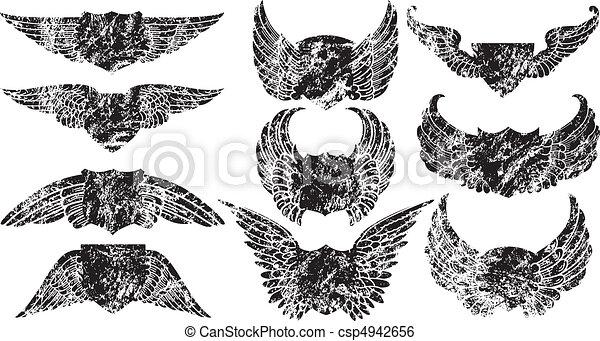 Grunge Winged Shields - csp4942656