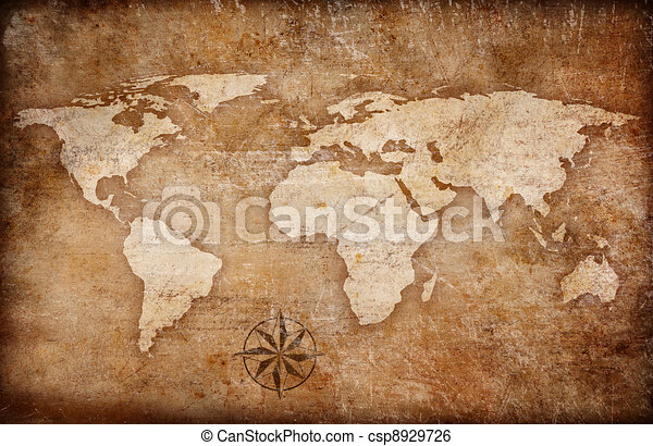 Grunge world map background with rose compass stock illustration grunge world map background with rose compass csp8929726 gumiabroncs Images