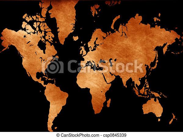 Computer designed grunge world map background stock illustration grunge world map csp0845339 gumiabroncs Choice Image