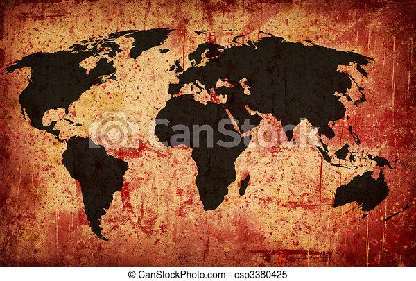 Computer designed grunge world map background stock illustrations grunge world map csp3380425 gumiabroncs Gallery