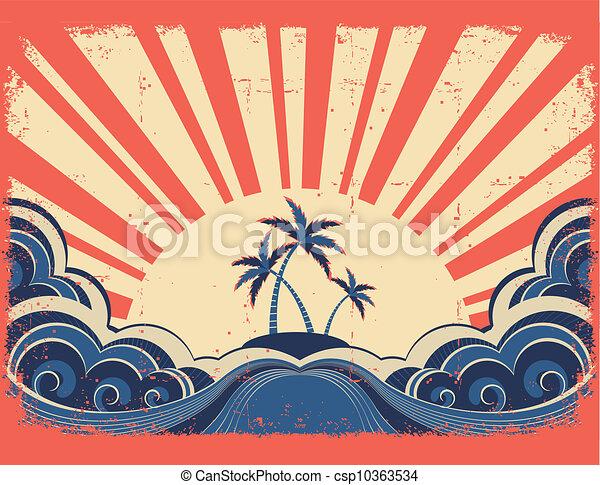 grunge, wyspa, raj, papier, tło, słońce - csp10363534
