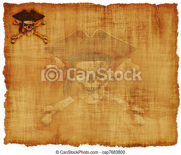 grunge, zeerover, schedel, perkament - csp7683800