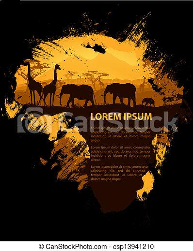 grungy, アフリカ, デザイン, テンプレート - csp13941210