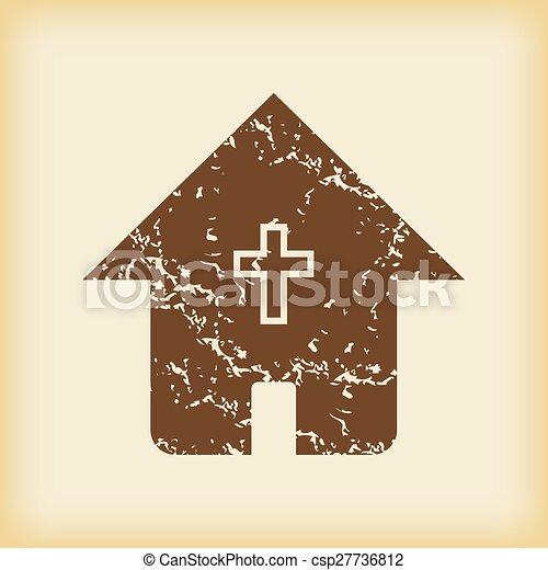 grungy, 家, キリスト教徒, アイコン - csp27736812