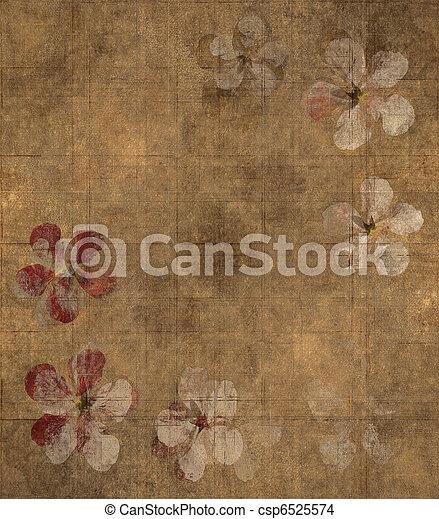 grungy, 花弁, 羊皮紙, 背景 - csp6525574