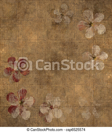 grungy, 花瓣, 羊皮纸, 背景 - csp6525574
