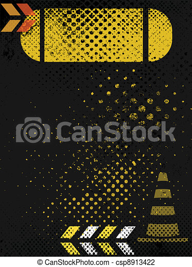 grungy, affiche, construction, fond - csp8913422