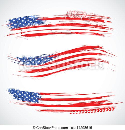 grungy, américain, bannière, drapeau - csp14298616